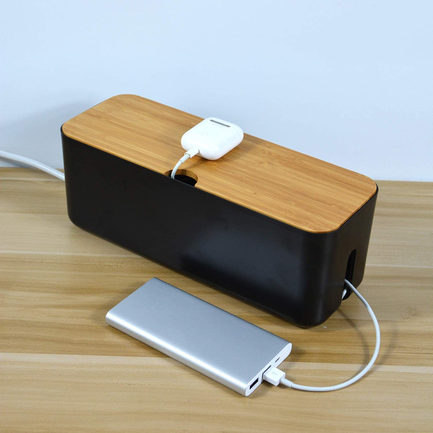 Black Changsuo Cable Management Box Wooden Cord Organizer Box for Extension Cord Power Stripe Surge Protector Wire Management Concealer Organizer Cover Hider for Desktop Home Office Kitchen