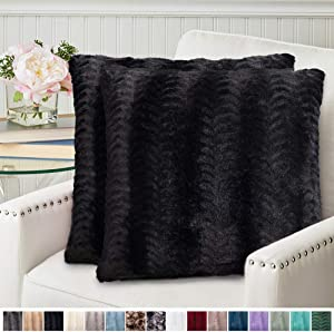 The Connecticut Home Company Original Faux Fur Pillowcases, Set of 2 Decorative Case Sets, Throw Pillow Covers, Luxury Soft Cases for Bedroom, Living Room, Sofa, Couch and Bed, 18x18, Black