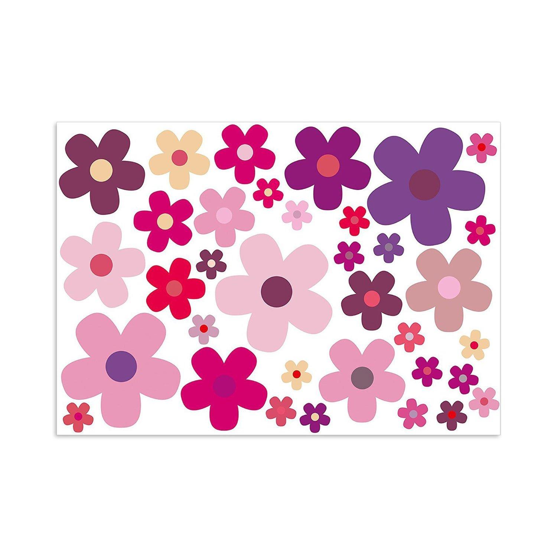 Aufkleber-Set Blumen Blü mchen lila I kfz_242 I Bogengrö ß e DIN A4 I Flower-Power Sticker fü r Fahrrad Laptop Handy Fahrzeug-Aufkleber wetterfest easydruck24de