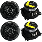 "4) Kicker 41DSC44 D-Series 4"" 240 Watt 4-Ohm 2-Way Car Audio Coaxial Speakers"