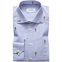Eton Shirts - Limited Edition Blue and White Stripe Shirt with Anubis EMBRODERY
