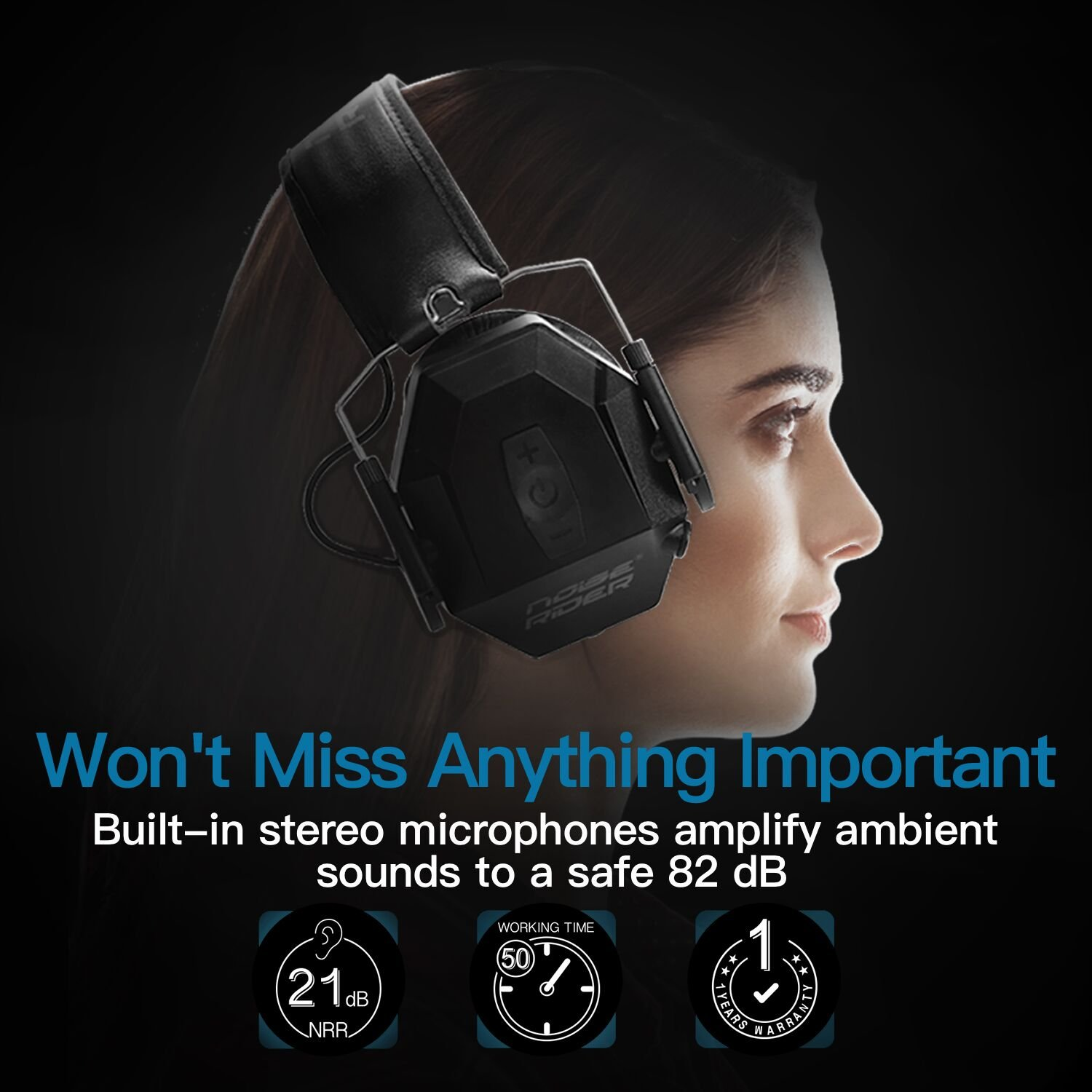 Noiserider Shooting Ear Protection Sound Amplification How To Build Amplified Suppression Clipping Audio Compression Nrr 21 Db Electronic Earmuff Noise Cancelling