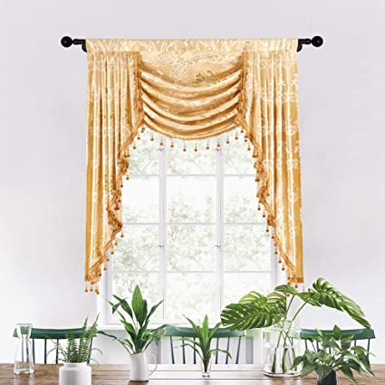 elkca Custom Made Valance for Living Room Golden Jacquard Swag Waterfall  Valance (Waterfall Valance,Damask-Golden, W39)