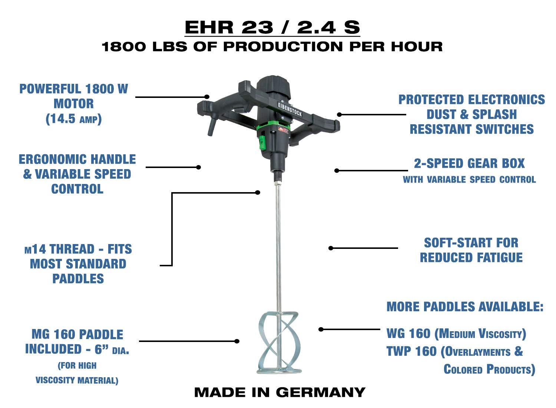 1,800 lb CS Unitec EHR 23//2.4 S Portable Hand-Held Electric Concrete Mixer Including MG 160 Paddle per Hour 14.5 Amp 110 VAC