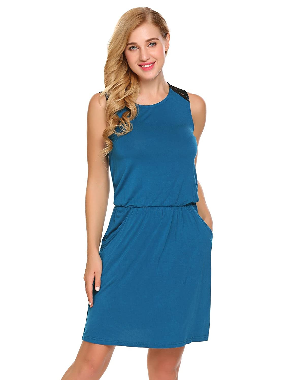 Zeela Damen Casual Jersey Kleid Ärmellos Rundhals Etuikleid Sweatkleid Shirtkleid Freizeitkleid mit Gummizug Einfarbig Sportlich Knielang