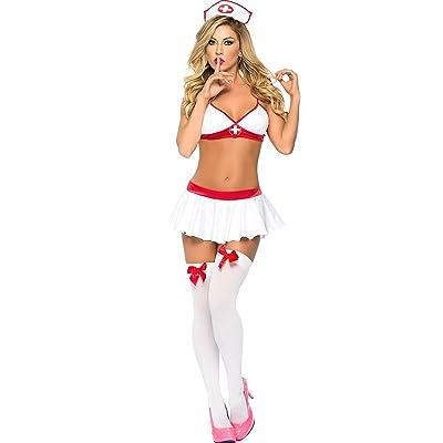 Addfect Femmes lingerie sexy erotique ouverte Cosplay de tentation uniforme d'infirmière Ensembles vêtements Trois points Creux Ange blanc SM Costumes