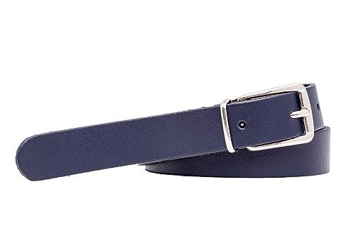 Shenky - Cinturón de cuero auténtico - Calidad alemana - 2 cm de ancho - Para cinturas de 75 a 115 cm