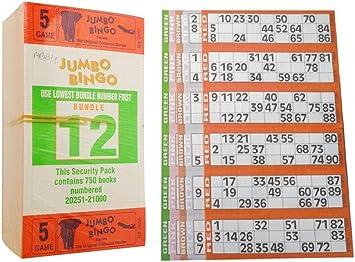 1500 BOOKS 8 PAGE GAME STRIPS OF 6 TV JUMBO BINGO TICKET SHEET BIG BOLD NUMBERS