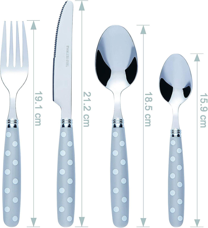 Grey//White Dot Bon Float 16-Piece Stainless Steel Cutlery Set