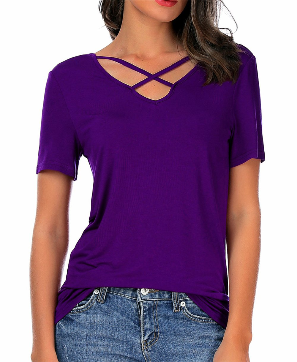 CPOKRTWSO Women Summer Tops Cross Front Deep V-Neck Long Sleeve Tees Top,A2-purple,X-Large