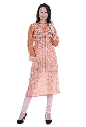 2127299c4dc Indian Handicraft Palace Ladies And Woman Georgette Lucknowi Chikankari  Embroidery Kurti-Kurta-Top