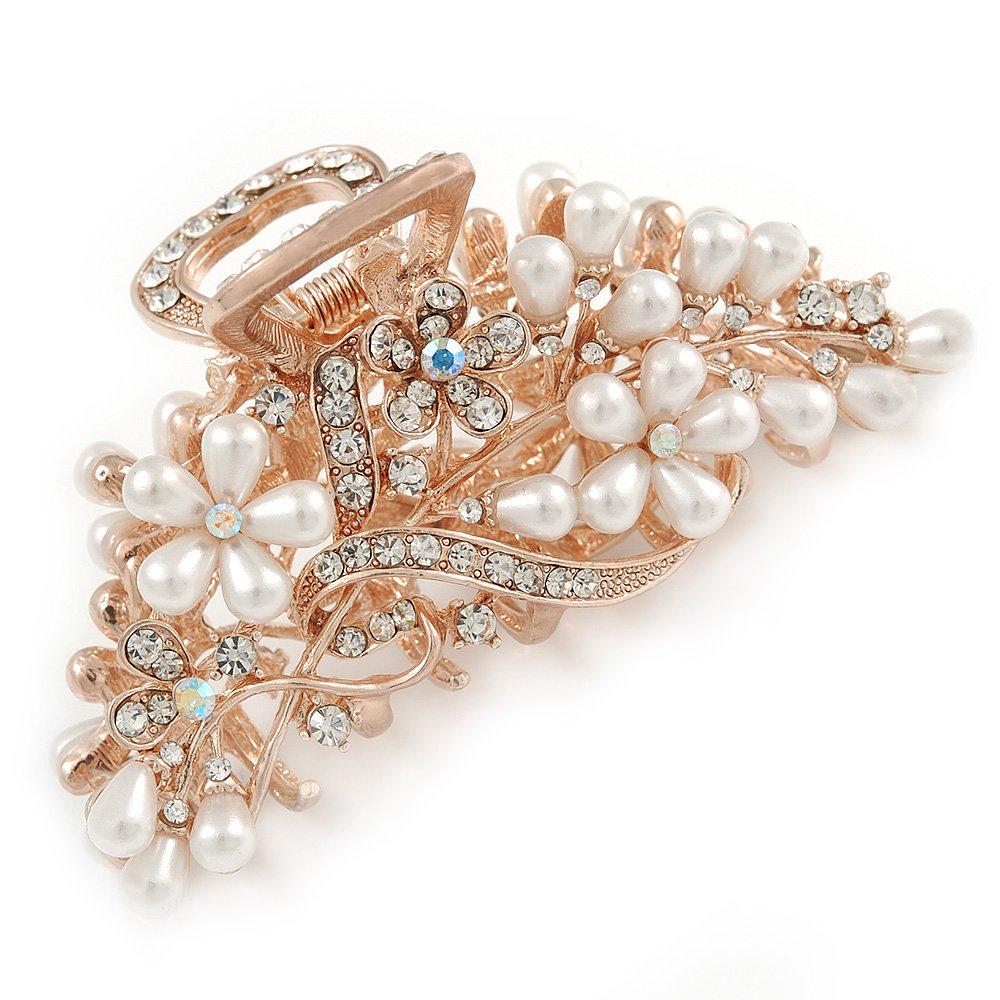 Grande de mariage/bal/mariage Cristal, fausse perle Floral Cheveux Claw en plaqué or–90mm de diamètre Avalaya