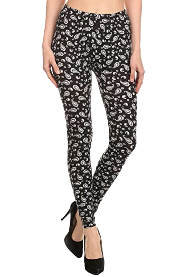 Shosho Women S Printed Fashion Leggings Small Medium Paisley At