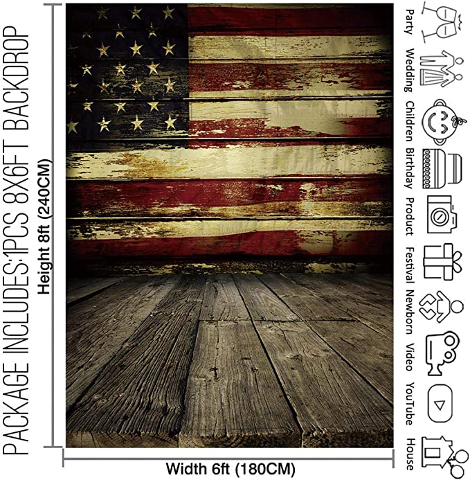 8x8FT Vinyl Wall Photography Backdrop,Sports,Ball and USA Flag Patriotism Background for Baby Birthday Party Wedding Graduation Home Decoration