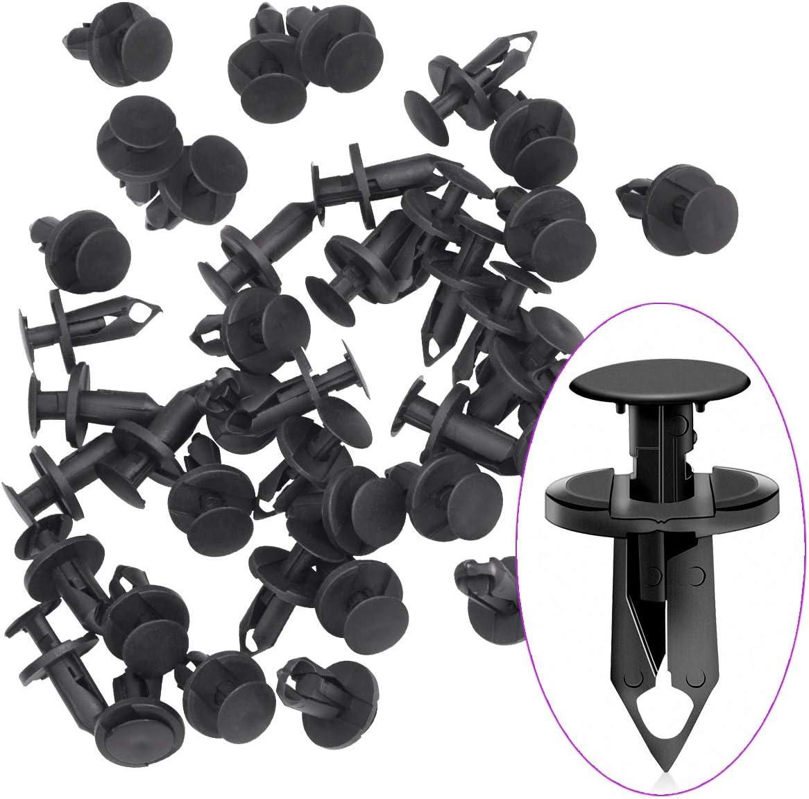 Black 100pcs 8mm Car Hole Plastic Rivets Fastener Fender Bumper Push Pin Clips