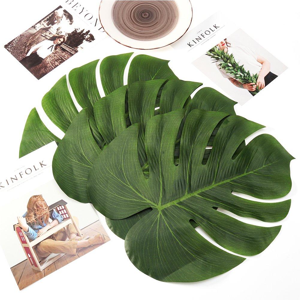 Paquet de 24 TP MALL Plante artificielle Été Feuilles de Palmiers Tropicales Décor de Fête Simulation Faux Feuille pour Hawaïen Luau Safari Fête Jungle Plage Thème barbecue Anniversaire Mariage Fête Décorations Accessoires