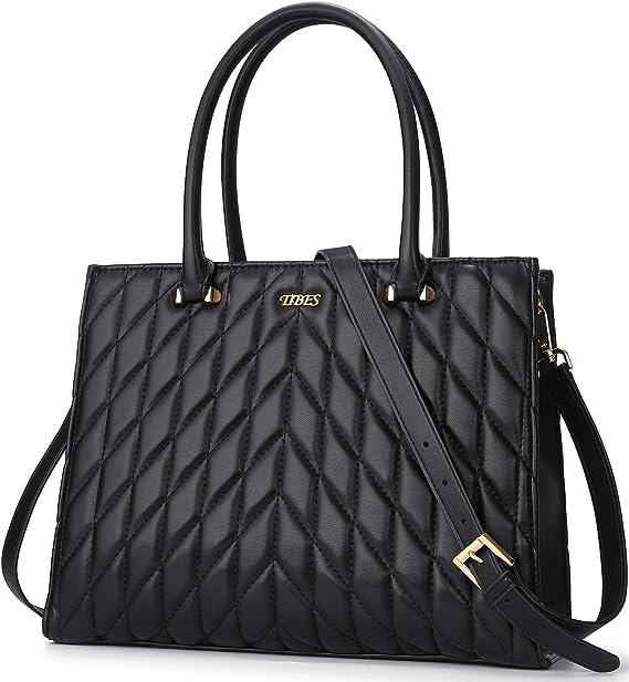 TIBES Handtasche Damen Shopper Damen Gro/ß Schultertasche Elegant Henkeltasche Damen PU Leder Tasche Schwarz