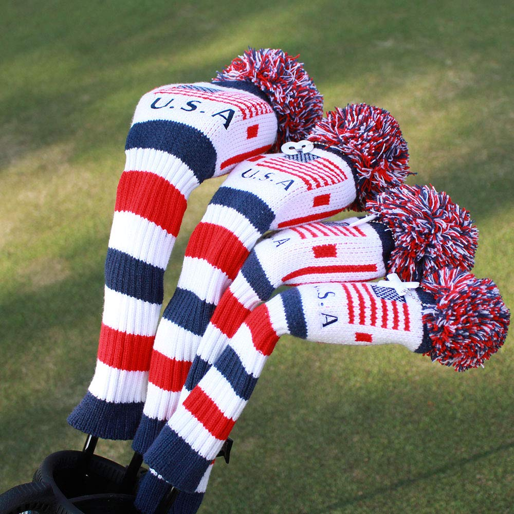 Craftsman Golf US Flag Knit Pom Pom White Blue Red Driver,Fairway Wood, Hybrid Head Cover Headcover for Callaway Mizuno Cobra Taylormade (#1 Driver Cover)