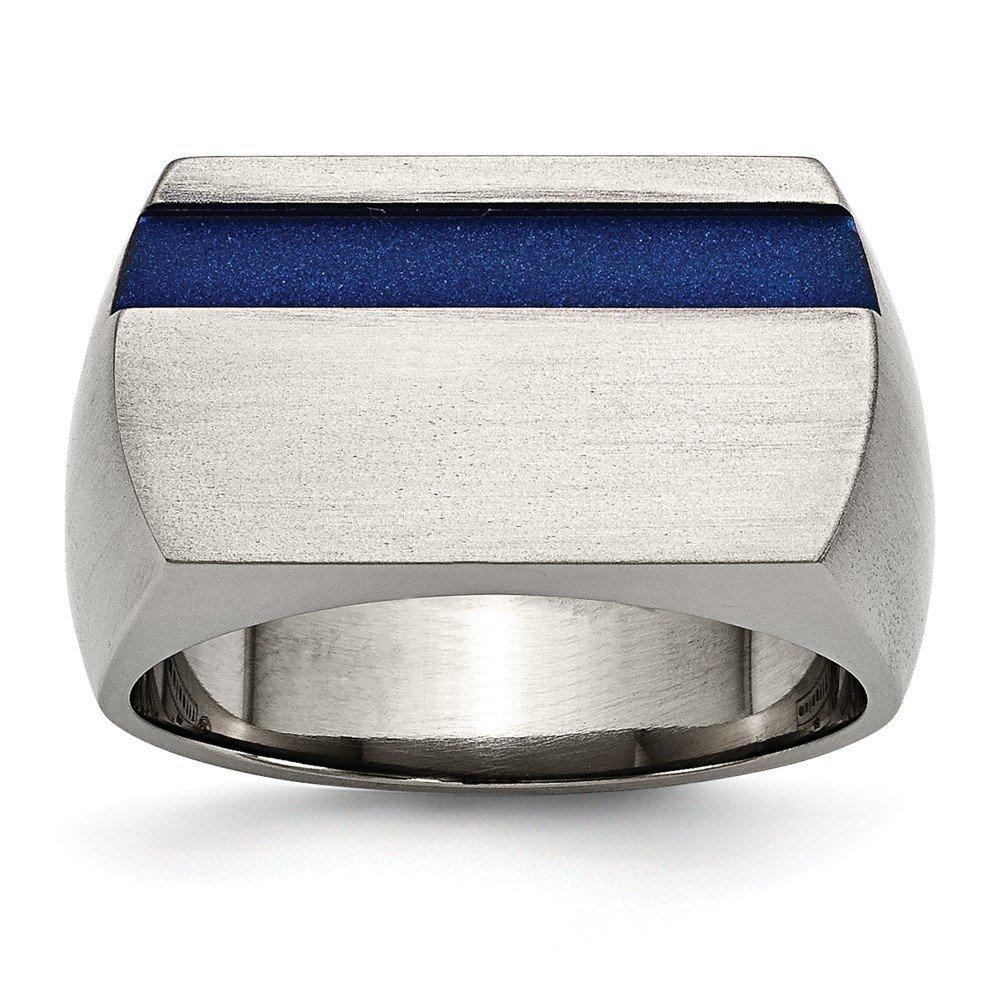 Roy Rose Jewelry Titanium Grey Ti Brushed/Polished Blue Annodized Stripe Ring Size 9 Size 9