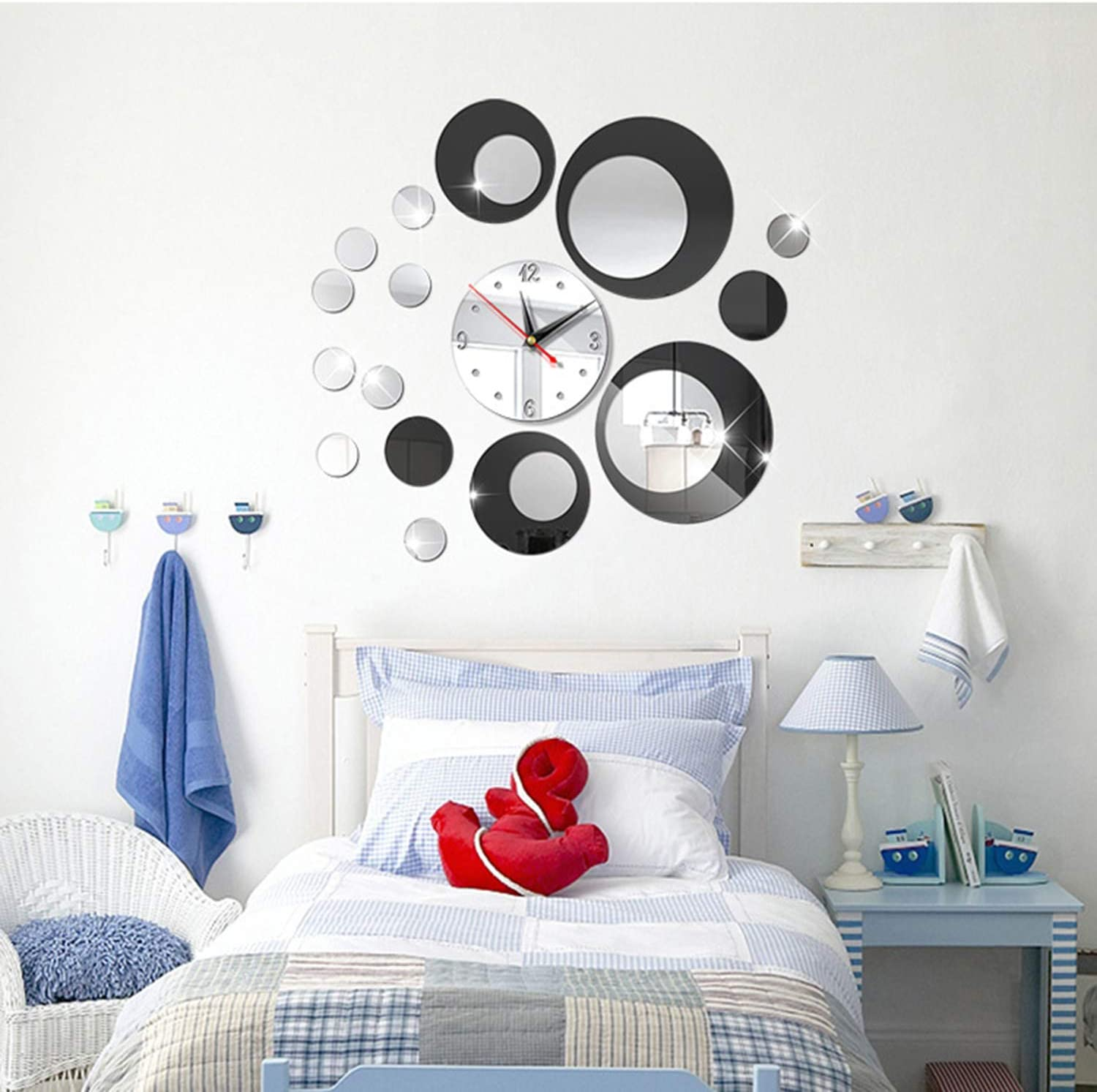 HOODDEAL Acrylic Clock Mirrors Style Removable Decal Vinyl Art Wall Sticker Home Decor (Silver Black)