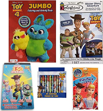 Amazon Com Colorboxcrate Toy Story 4 Coloring Book Toy Set For Girls 5 Pack Includes Toy Story 4 Activity Book Toy Story 4 Coloring Books Toy Story 4 Stickers Crayons Colorforms And More