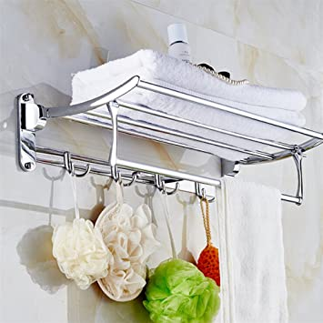 Bathroom Towel Rack Shower Caddy Hotel Stainless Steel Foldable Towels Shelf 2 Storage Hanging And