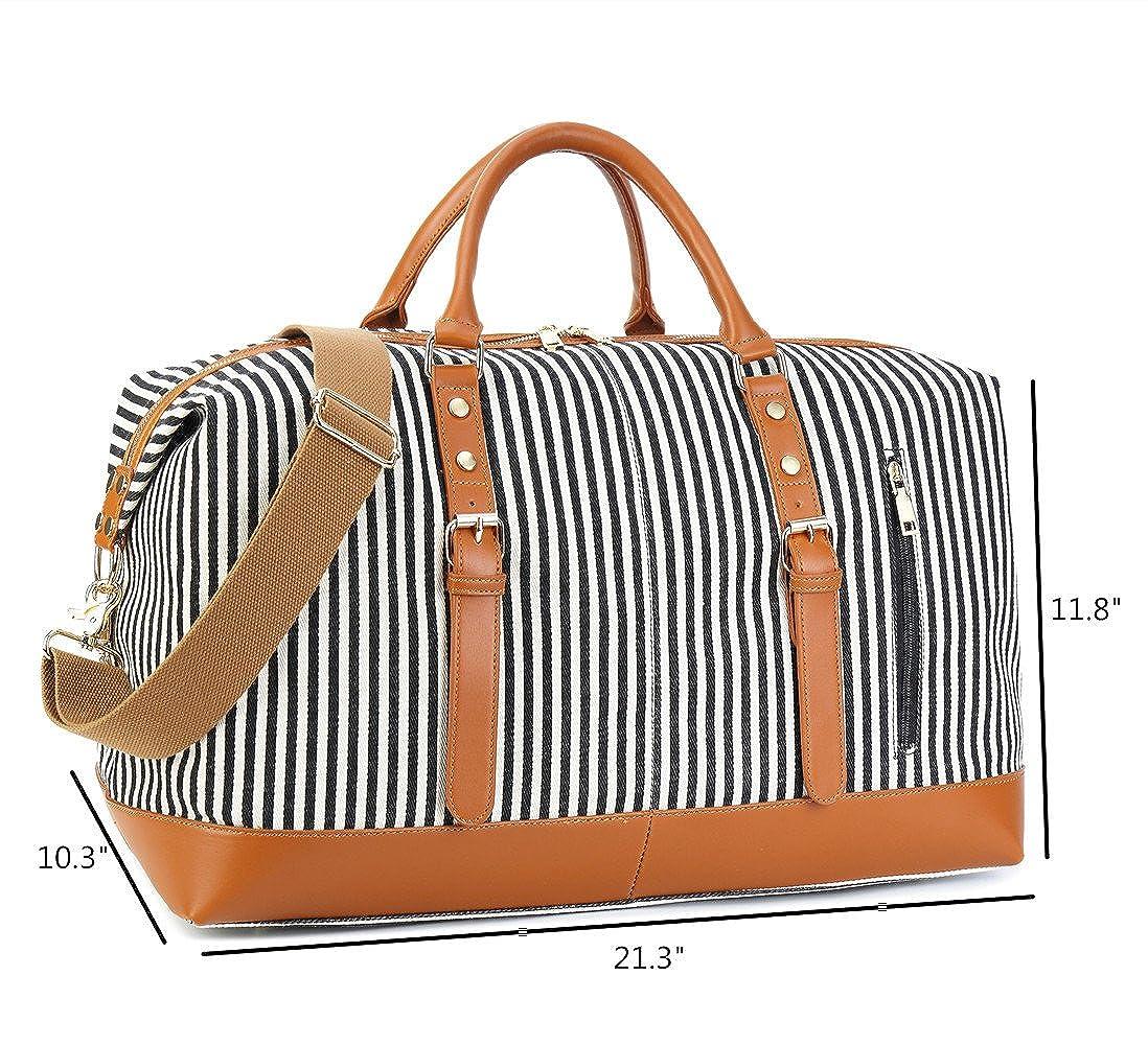 Amazon.com   Weekend Travel Bag Ladies Women Duffle Tote Bags PU Leather  Trim Canvas Overnight Bag Luggage (Black)   Travel Duffels 1c08e8922a