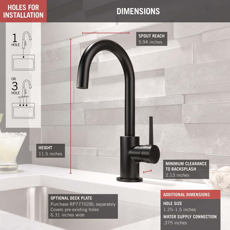 Delta Faucet Trinsic Single-Handle Bar-Prep Kitchen Sink Faucet, Matte Black 1959LF-BL by DELTA FAUCET (Image #3)