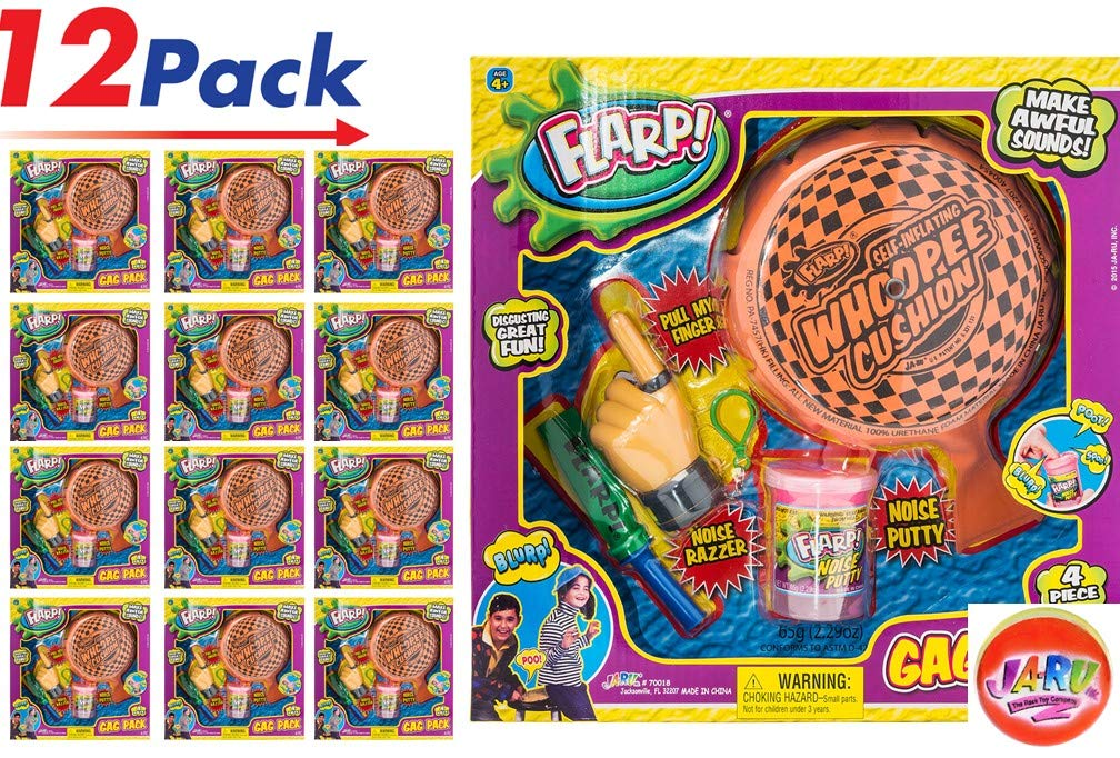 JA-RU Flarp Prank Gag Kit Pack (12 Boxes) Comes with a Collectable Bouncy Ball. 4 Classic Farrt Jokes | #70018-12p by JA-RU