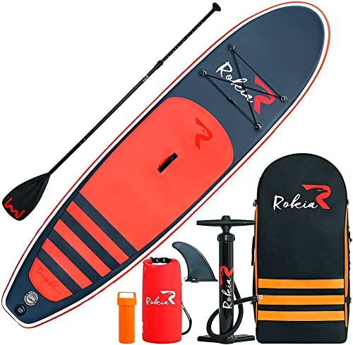 Rokia R 10.6 Feet Inflatable SUP Stand Up Paddle Board 6 Inches Thick iSUP for Fitness, Yoga, Fishing on Flat Water