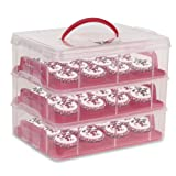 Amzdeal 3 Tier Cupcake Carrier, Snap and Stack Cupcake Holder Container - Red
