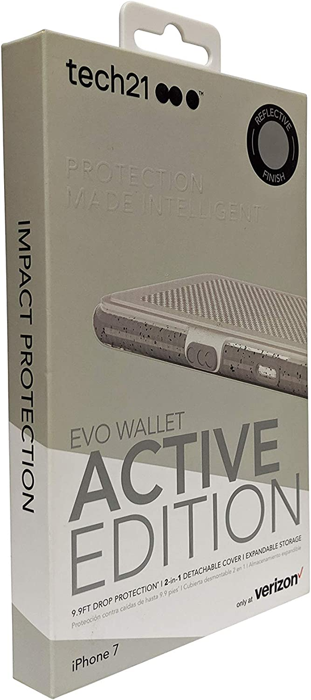 tech21 Evo Wallet Active Case for iPhone SE2/8/7/6/6s - Reflective Gray