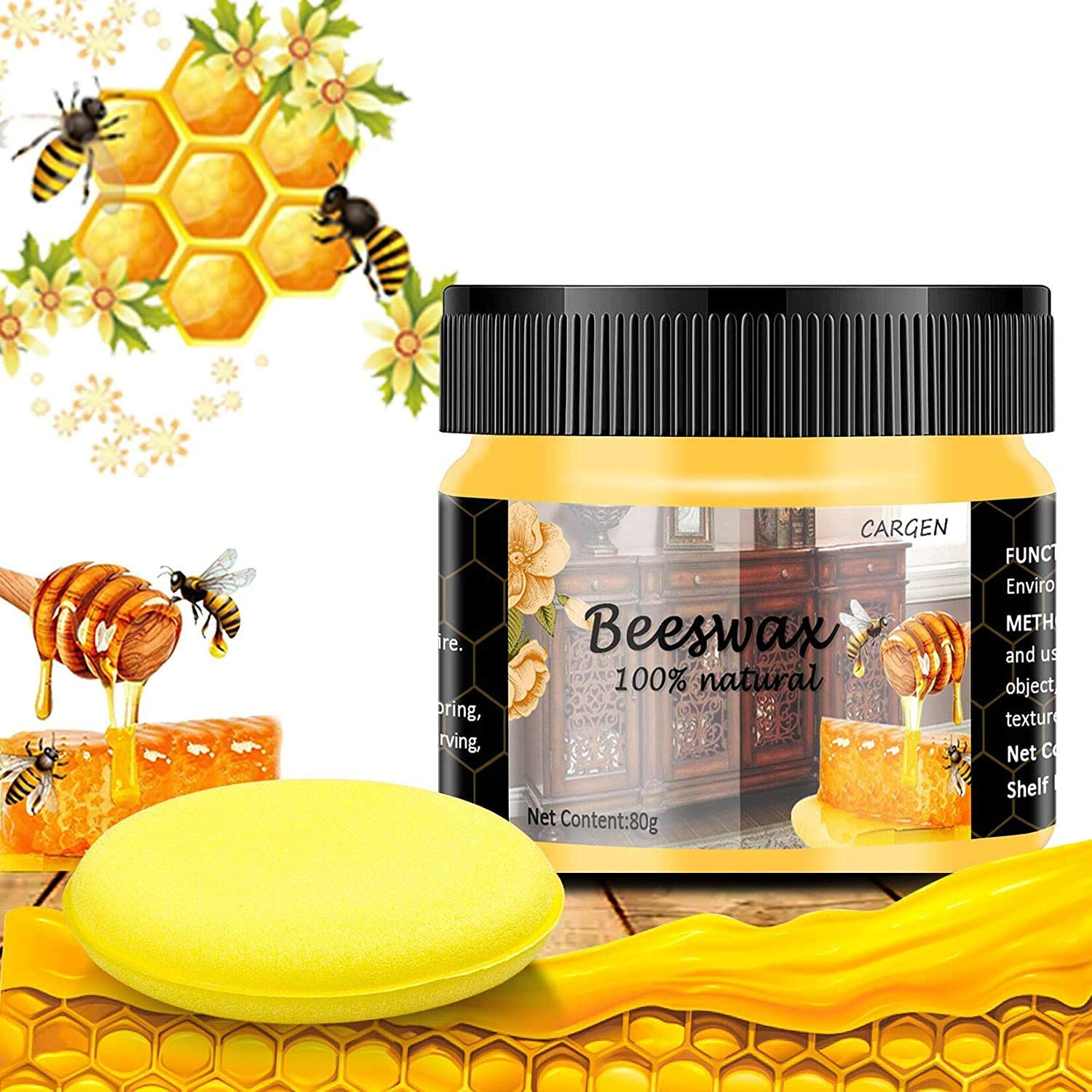 CARGEN Beeswax Furniture Polish, Wood Seasoning Beeswax for Furniture Wood Cleaner and Polish for Floor Tables Chairs Cabinets for Home Furniture to Protect and Care 1pcs Wood Wax and Sponge
