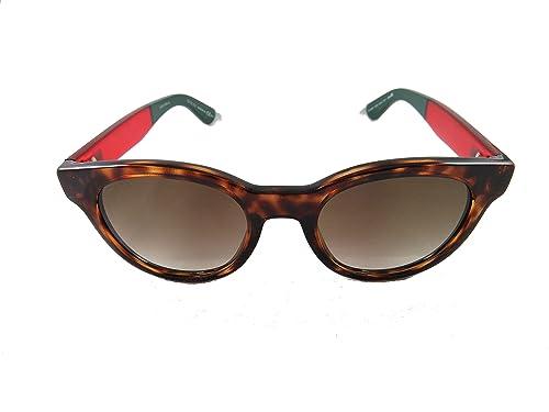 Gucci occhiali da sole rotondi classico logo in rosso l'Avana marrone GG 1159/S VTD 50
