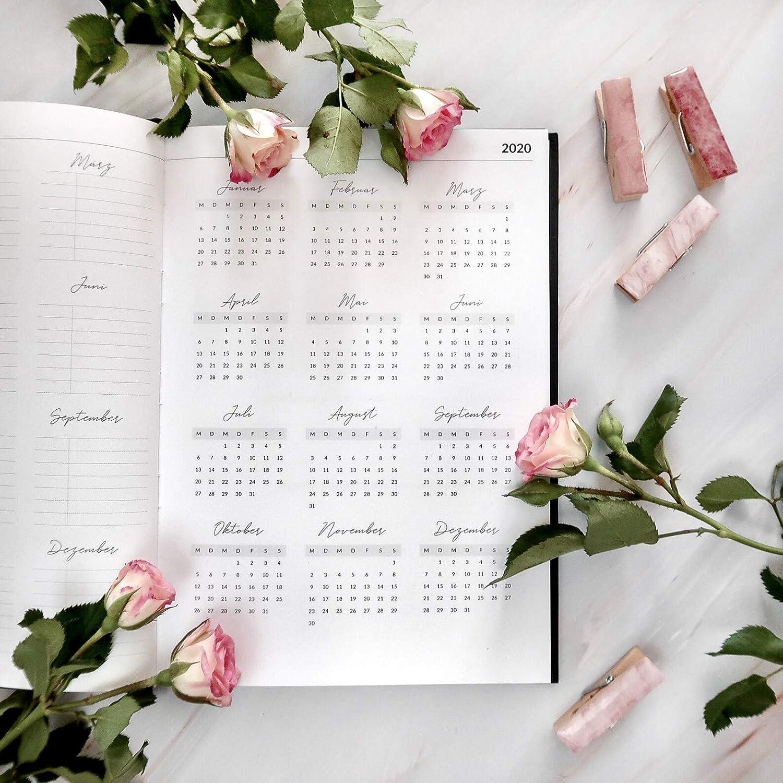 Organisieren und Notieren Taschenkalender und Planer 2020 Hardcover Wochenplaner mit 2 Leseb/ändchen Lebenskompass Kalender Terminplaner 2020 Terminkalender zum Planen