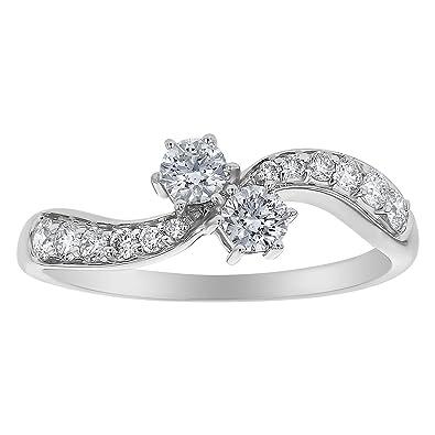 3caede14236 Olivia Paris 14k White Gold Certified 2 Stone Engagement Ring (1/2 Carat  cttw
