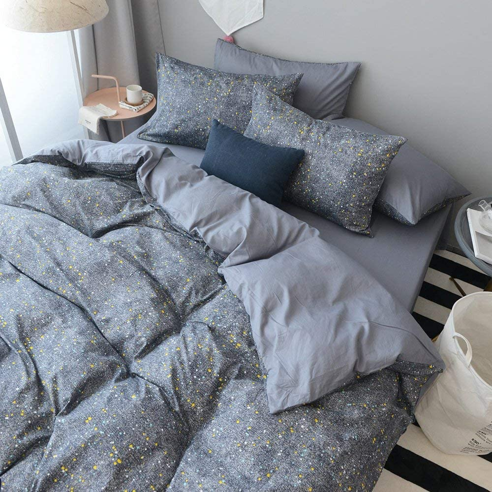 Grey Star Cotton Duvet Cover Set King Reversible Solid 100% Cotton Comforter Cover Set Luxury Soft Hotel Bedding Set Star Universe 3 Pcs Bedding Collection 1 Duvet Cover with 2 Pillowcases