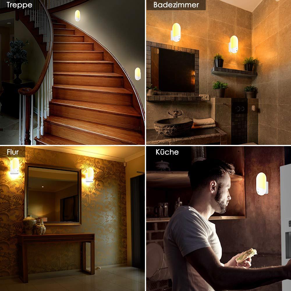 2PACK Veilleuse LED LOFTer Lampe Nuit Murale Multi Couleur Automatique Plug-And-Play Veilleuse Avec Capteur Cr/épusculaire