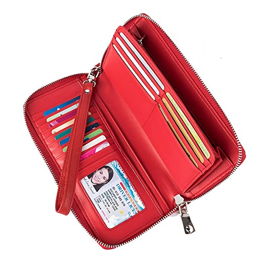 5c926ed51f2a Women's Wallet Genuine Leather Zip Around Clutch Large Travel Purse