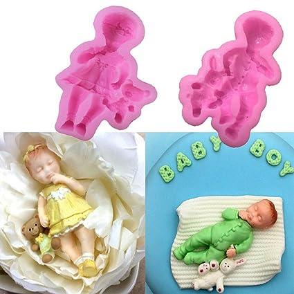 Moldes de silicona para niños con forma de muñeca, moldes de silicona líquida para tartas