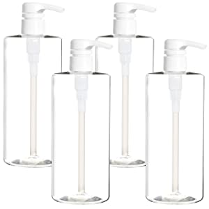 Youngever 4 Pack Pump Bottles for Shampoo 24 Ounce, Empty Shampoo Pump Bottles, Plastic Cylinder with Lockdown-Leak Proof-Pumps