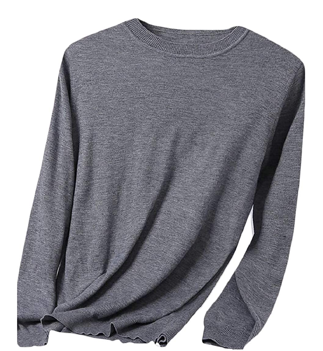 ouxiuli Mens Crewneck Long Sleeve Knitted Pullover Soft Slim Fit Jumper Sweater