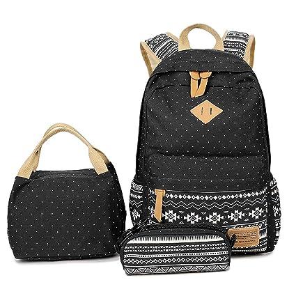 58b3943fc5d Lmeison Teens Girls Backpack, Canvas School Backpack Set 3 in 1 Student  Bookbags Laptop Backpack Travel Daypack Shoulder Bag (BlackSnowflake-3pcs)