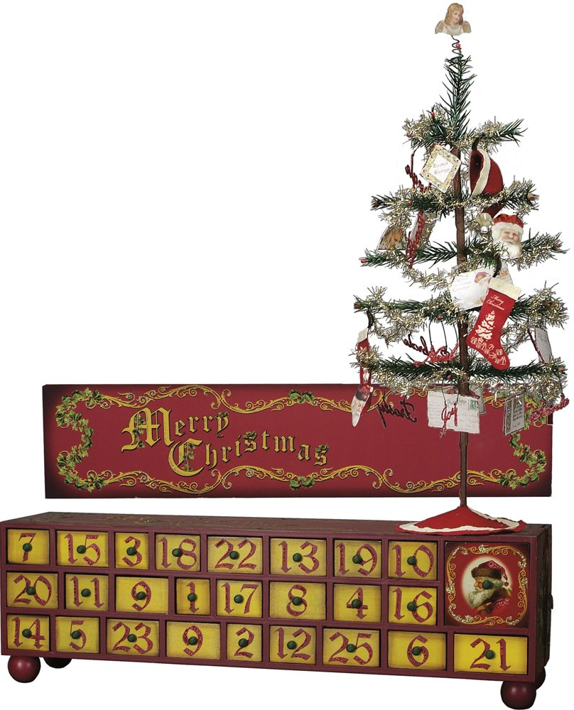 Vintage Advent Box with Tree and Ornaments