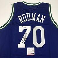 $94 » Autographed/Signed Dennis Rodman Dallas Blue Basketball Jersey PSA/DNA COA