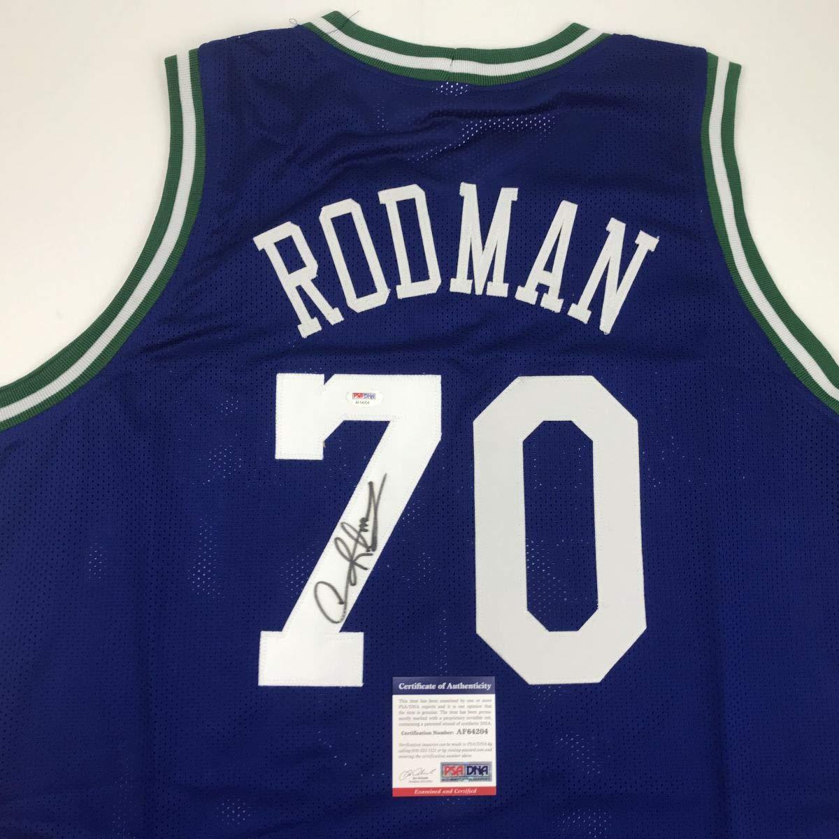 Autographed//Signed Dennis Rodman Dallas Blue Basketball Jersey PSA//DNA COA