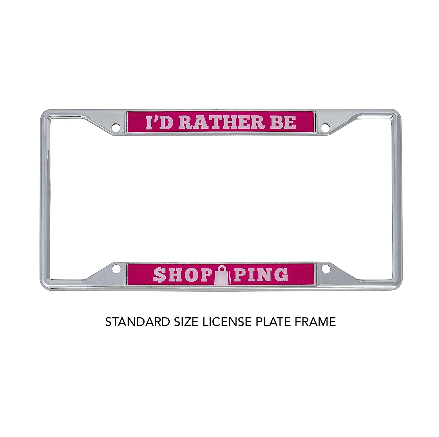 Desert Cactus Id Rather Be Shopping Metal Auto License Plate Frame Car Tag Holder