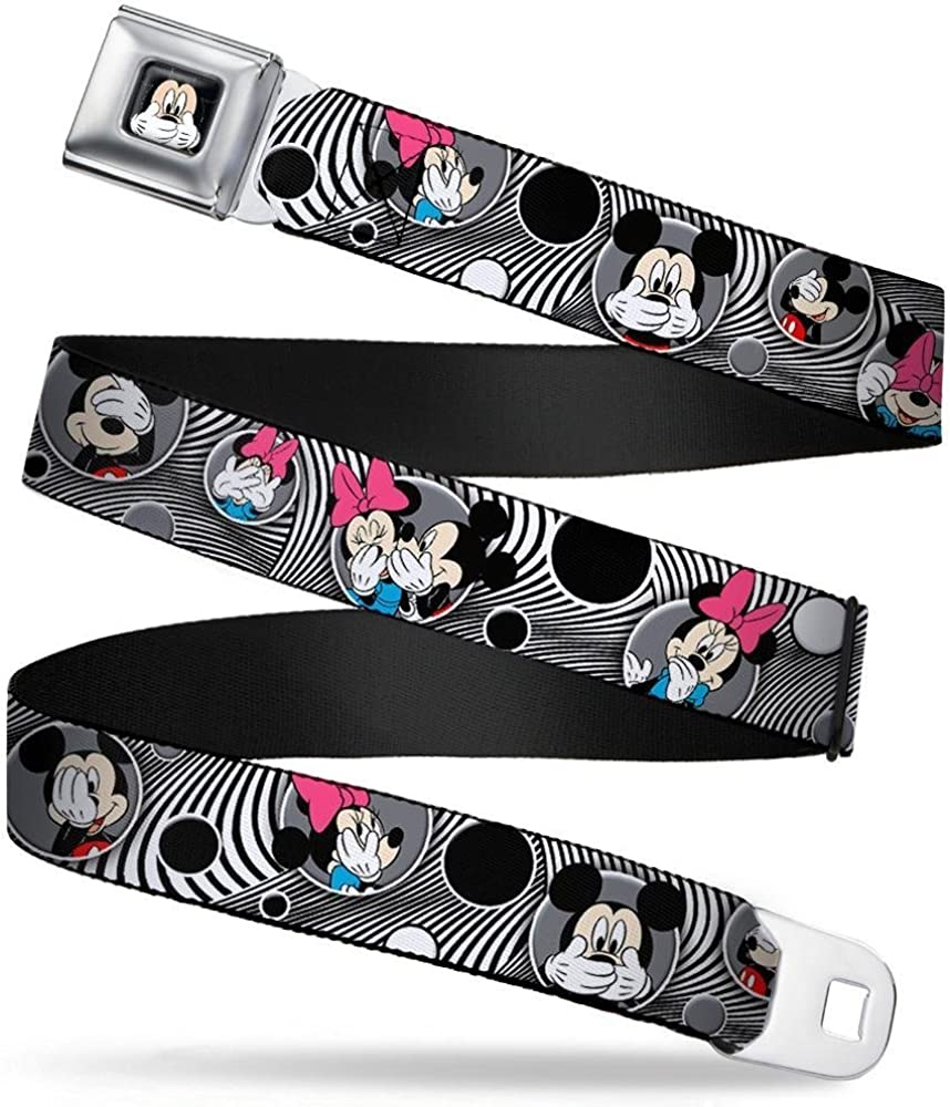 Mickey /& Minnie Peek-a-Boo Expressions Swirl Black//White Buckle-Down Seatbelt Belt 20-36 Inches in Length 1.0 Wide