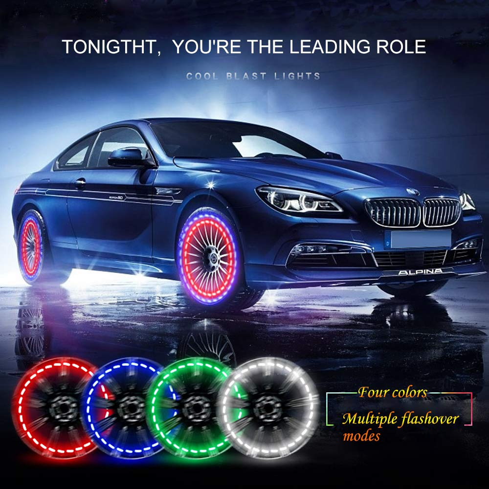 FICBOX Car Tire Wheel Lights,4 Pack Solar Car Wheel Tire Hub Light Motion Sensors Colorful LED Tire Flashing Colorful Exterior Lights