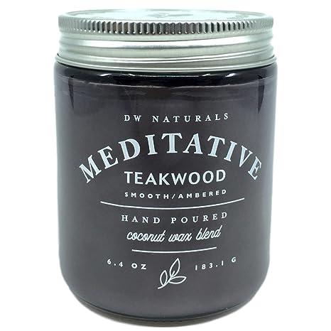 DW Naturals Meditative Teakwood Scented Candle Coconut Wax Blend